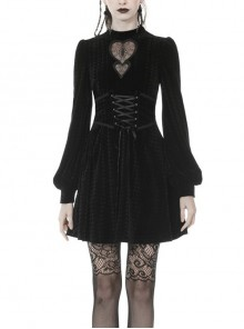 Lace Heart-Shaped Hollow Lace-Up Waist Long Sleeves Black Gothic Dress