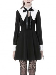 Black Lolita White Inverted Triangle Shawl Lace-Up Bow Long Sleeves Gothic Dress