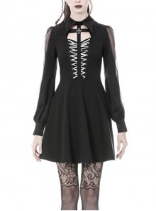 Lace-Up Chest Cross Long Sleeves High Waisted Black Gothic Dress