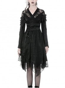 Lace Hollow Shoulder Long Sleeves Lace-Up Waisted Black Gothic Kimono Dress