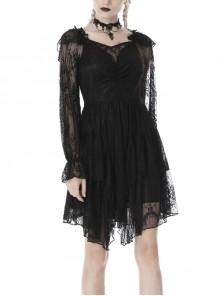 Black Elegant Lace Long Sleeves High Waisted Midi Gothic Dress