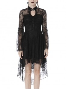 Lace Long Sleeves Chest Hollow High Waisted Rear Long Hem Black Gothic Dress