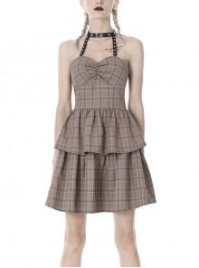 Brown Checked Off-Shoulder Rivet Inlaid Straps Corset Punk Dress