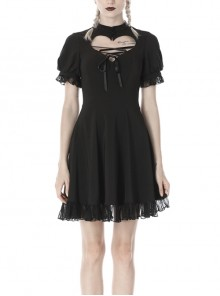 Black Lolita Heart-Shaped Hollow Chest Lace-Up Short Sleeves Gothic Dress