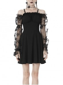 Off-Shoulder Butterfly Lace Long Sleeves High Waisted Black Sexy Gothic Dress