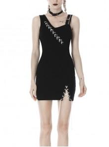 Black Suture Asymmetrical Tight Sling Punk Dress