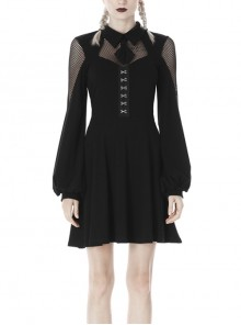Fishnet Long Sleeves Button High Waisted Black Daily Punk Dress