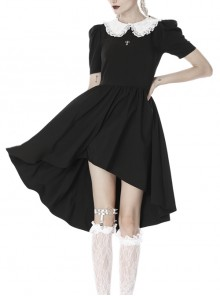 Black Lolita White Collar Cross Short Sleeves Rear Long Hem Gothic Dress