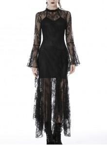 Lace Long Sleeves High Waisted Asymmetrical Hem Long Black Gothic Dress