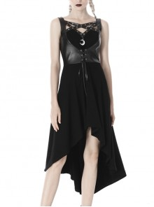 Leather Bandage Metal Moon Pendant Lace-Up Waist Long Fishtail Punk Dress