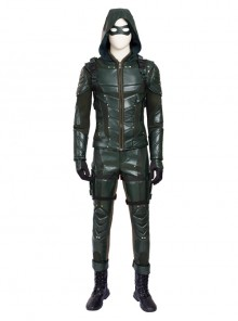 Arrow Season 5 Oliver Queen Halloween Cosplay Costume Green Leather Clothing Full Set Without Boots