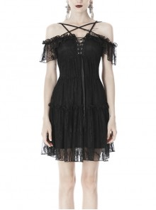 Lace Star-Line Straps Short Sleeves Black Gothic Dress