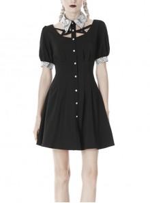 White Lapel Collar Bandage Button Short Sleeves Black Punk Dress