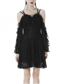 Sexy Lace Chest Lace-Up Black Sling Gothic Princess Dress