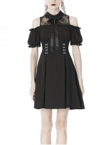 Lolita Off-Shoulder Bow Collar Cross Button Waisted Black Gothic Dress