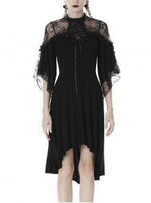 Lace Sexy Lace-Up Half Sleeves High Waisted Balck Gothic Dress