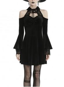 Black Lace-Up Collar Off-Shoulder Lace Velvet Gothic Dress