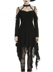 Off-Shoulder Lace-Up Metal Moon Pendant Asymmetrical Hem Black Punk Dress