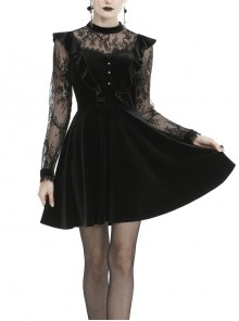 Lace Button Chest Frilly Long Sleeves High Waisted Black Velvet Gothic Dress