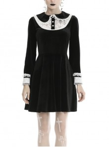 Lolita Doll Collar Lace Button Long Sleeves Black Gothic Dress