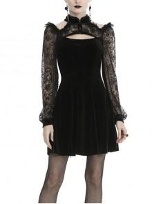 Black Cheongsam Collar Chest Hollow Lace Long Sleeves Velvet Gothic Dress