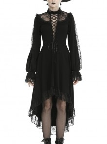 Lace Chest Lace-Up Long Sleeves Rear Long Hem Black Gothic Dress
