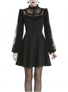 Lace Button Chest Frilly Long Sleeves Black Gothic Dress