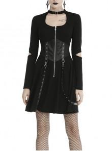 Black Chest Hollow Zippered Leather Bandage Long Sleeves Punk Dress