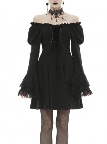 Off-Shoulder Chest Lace-Up Long Sleeves Lace Black Gothic Dress
