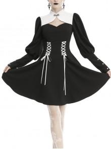 White Cheongsam Collar Lace-Up Waist Long Sleeves Button Black Gothic Dress