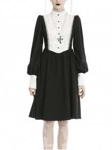 White Lace Front Garment Button Long Sleeves Black Gothic Nun Dress