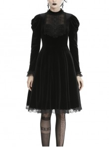Lace Button Long Sleeves High Waisted Black Velvet Gothic Dress