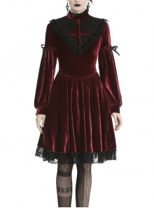 Black Lace Chest Frills Lace-Up Long Sleeves Red Velvet Gothic Dress