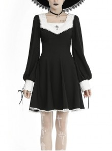 Cross Embroidery White Collar Long Sleeves Lace-Up Black Gothic Dress