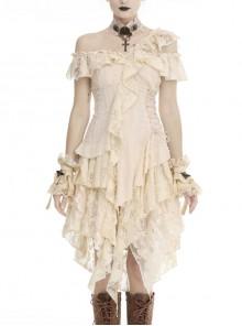 Off-Shoulder Irregular Frilly White Lace Punk Dress