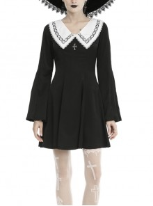 White Lace Doll Collar Cross Long Sleeves Black Gothic Dress