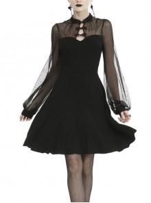 Cheongsam Collar Chest Hollow Mesh Long Sleeves Sexy Black Gothic Dress