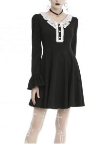 White Lolita Doll Collar Button Long Sleeves Black Gothic Dress