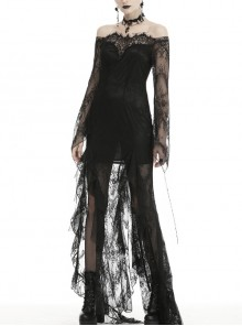 Off-Shoulder Lace Long Sleeves Frill Swallow Tail Black Gothic Dress