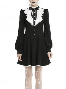 White Frills Collar Lace-Up Button Long Sleeves Black Gothic Dress
