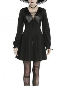 Bat Collar Chest Lace-Up Cross Pendant Long Sleeve Black Halloween Gothic Dress