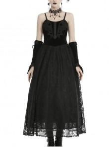 Black Chest Lace-Up High Waisted Gothic Sling Maxi Velvet Dress