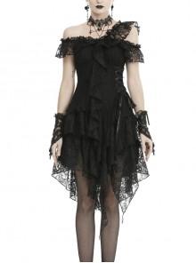 Lace Off-Shoulder Irreqular Frilly Side Waist Lace-Up Black Gothic Dress