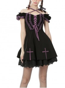 Lace Off-Shoulder Purple Frilly Lace-Up Cross Black Harajuku Gothic Dress