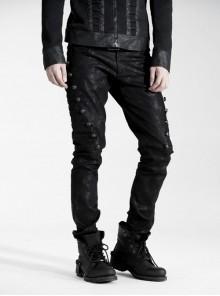 Steam Punk Casual Black Male Rivet Jeans