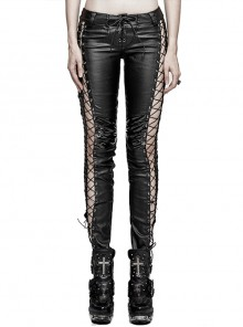 Steam Punk Female Black PU Leather Binding Skinny Pants