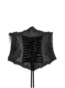 Gothic Lolita Female Black Embroidered Bows Girdle