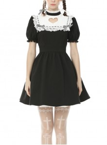 White Lace Frilly Square Collar Heart-Shaped Hollow Short Sleeves Black Gothic Dress