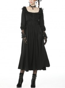 Black Lace Frilly Collar Button High Waisted Rose Embroidery Cuff Maxi Vintage Gothic Dress