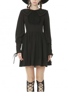 Doll Collar Button Chest Frilly Long Lantern Sleeves Lace-Up Cuff Black Gothic Dress